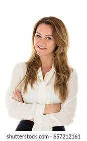 Portrait Of Happy Businesswoman Against White Background