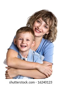 Portrait of happy child and his mother