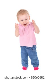 Portrait of happy child isolated on white background, top view