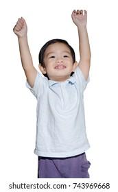 Portrait Of Happy  Child Smiling On White Background