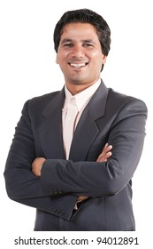 portrait of happy and confident Indian businessman, biracial businessman isolated on white