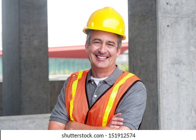 portrait of a happy construction worker shot outside
