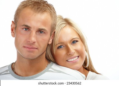 Portrait of a happy couple isolated on white background