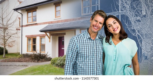 Portrait of happy couple standing against pretty house with a blue and white filter