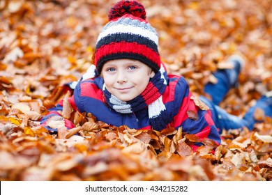 487e755a406 Portrait of happy cute little kid boy with autumn leaves background in  colorful clothing. Funny