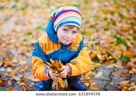 Portrait of happy cute little kid boy with autumn leaves background in colorful clothing. Funny child having fun and playing in fall forest or park on cold autumnal day.