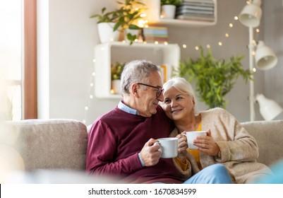 Porträt eines glücklichen älteren Ehepaares, das sich zu Hause auf dem Sofa entspannt