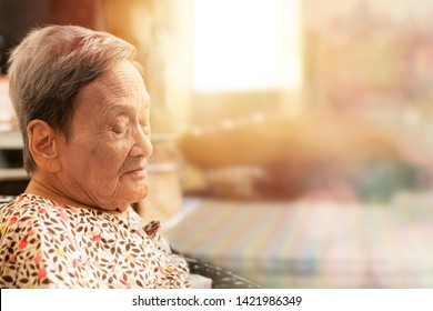 Portrait of a happy elderly woman with eyes closed and little smiling face in the morning light background.