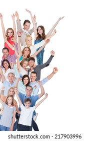 Portrait Of Happy Excited Crowd Isolated On White Background