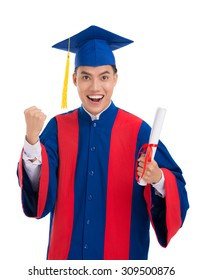 Portrait of happy excited school-leaver with a diploma in his hand