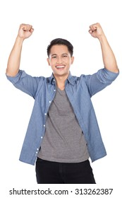 A portrait of happy excited young Asian man isolated on white background