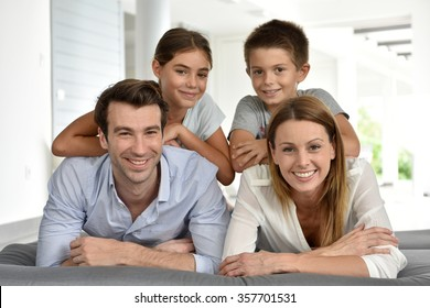 Portrait of happy family of four
