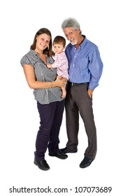Portrait of a happy family with grandfather mother  and baby isolated against white background