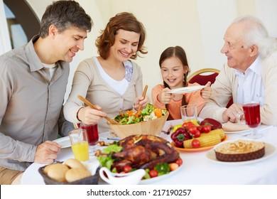 Portrait of happy family having Thanksgiving dinner