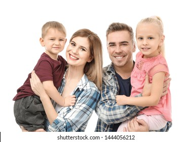 Portrait of happy family with little children on white background