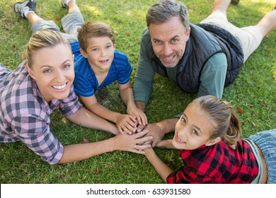 Portrait of happy family lying and putting their hands together in park