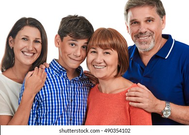 Portrait of a happy family on a white background