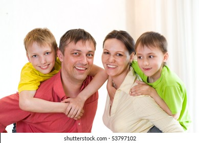 portrait of a happy family on a white
