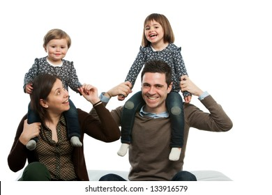 portrait of happy family playing around on couch.Isolated.