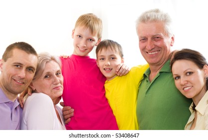 portrait of a happy family of six people