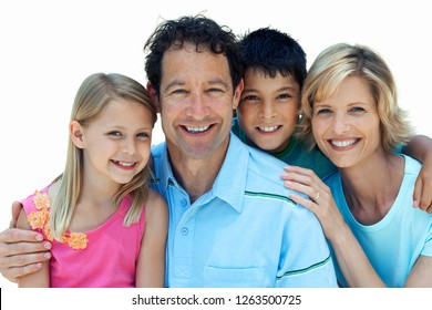 Portrait of happy family and white background smiling at camera