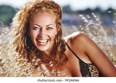 portrait of happy fashionable smiling woman outdoor