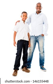 Portrait of a happy father and son smiling - isolated over white