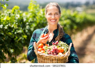 Portrait of happy female farmer holding a basket of vegetables in the vineyard