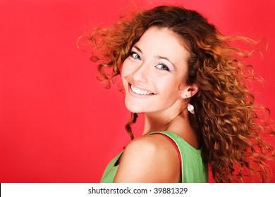 Portrait of a happy female model. Theme: beauty, fashion