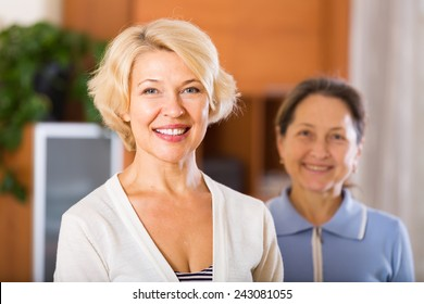 Portrait of happy female pensioners
