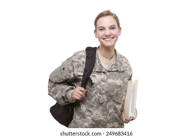 Portrait of happy female soldier with backpack and file