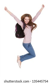 Portrait Of Happy Female Student Isolated Over White Background
