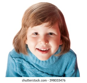 Portrait of Happy five years girl smiling isolated on white