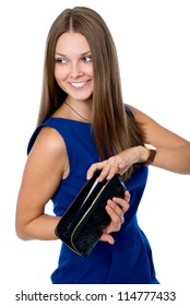 Portrait of happy girl in a blue dress, showing contents of purse.isolated on white