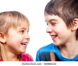 Portrait of happy girl and boy