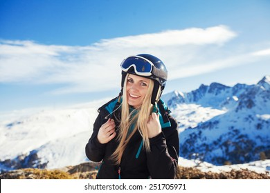 portrait of happy girl in the mountains