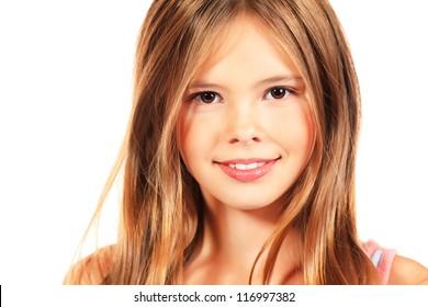 Beautiful Teen Girl, Headshot Isolated Stock Photo - Image