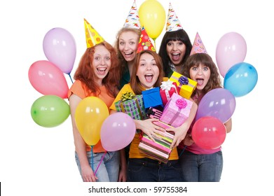 portrait of happy girls with boxes and balloons