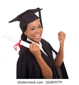 portrait of happy graduate student on white background