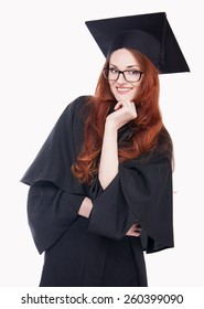 Portrait of happy graduate young woman in glasses.