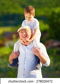 portrait of happy grandson sitting on shoulders of grandpa, countryside
