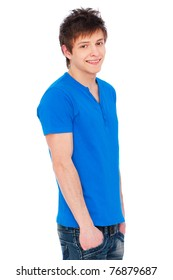 portrait of happy guy in blue t-shirt over white background
