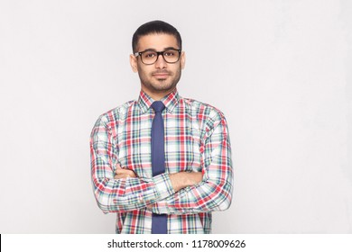 portrait of happy handsome bearded businessman in colorful checkered shirt, blue tie and black eyeglasses standing in crossed hands and smiling. indoor studio shot, isolated on light grey background.