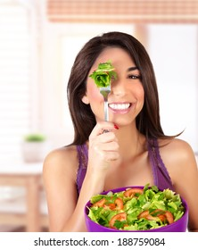 Portrait of happy healthy woman having breakfast at home, enjoying organic nutrition, fresh vegetables, dieting concept