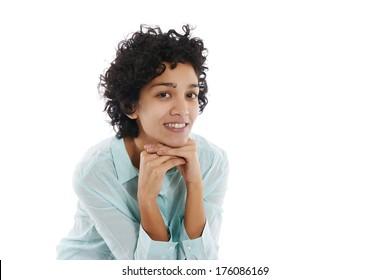 Portrait of happy hispanic businesswoman smiling confident at camera on white background