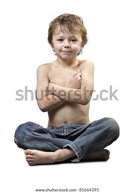 Portrait of happy joyful beautiful little boy isolated on white