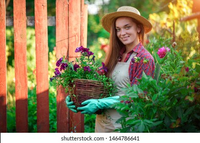Portrait of happy joyful florist gardener with flower pot of petunia outdoors. Gardening and floriculture. Growing flower in home garden
