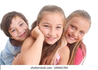 portrait of happy kids on white background