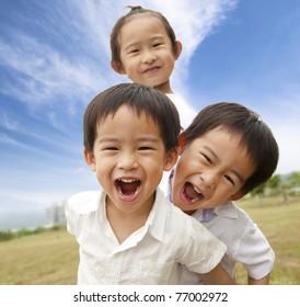 Portrait of happy kids outdoor