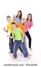 portrait of a happy kids posing on white